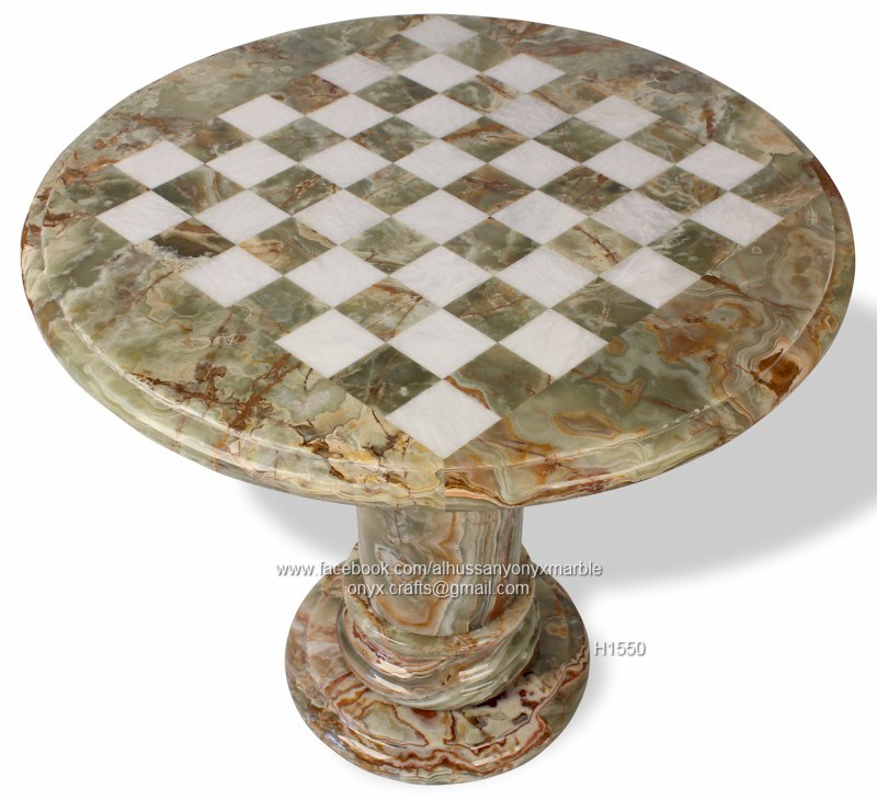 1549405_1409196619319711_1478393347_n.  Black_marble_coral_stone_chess_table_with_pieces_670.  Green_white_onyx_chess_table_top_view_800
